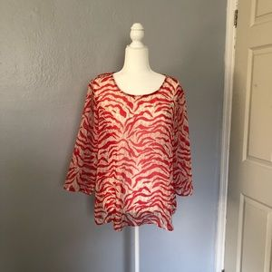 Tops - Chico's red and cream animal print top